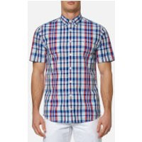 Tommy Hilfiger Mens Lester Check Short Sleeve Shirt - Blue/Apple Red - M