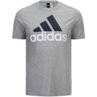 adidas Mens Essential Big Logo T-Shirt - Grey Marl - XL