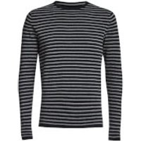 Threadbare Mens Carina Stripe Crew Neck Jumper - Navy - XL