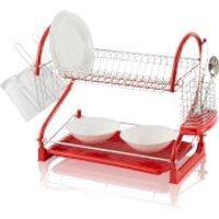 Swan 2 Tier S Shape Dish Rack - Red