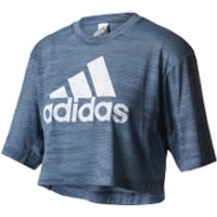 adidas Womens Aeroknit Boxy Crop Top - Blue - L