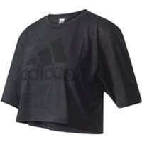 adidas Womens Aeroknit Boxy Crop Top - Black - XS