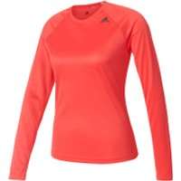 adidas Womens D2M Long Sleeve Top - Core Pink - XS