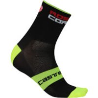 Castelli Rosso Corsa 13 Socks - Black/Yellow Fluo - S-M