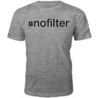 Mens #Nofilter Slogan T-Shirt - Grey - XL