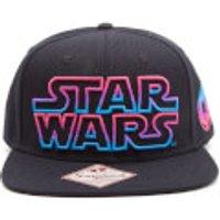 Star Wars Snapback Cap with Coloured Star Wars Logo - Black