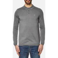 Lyle & Scott Mens Long Sleeve Mercerised Cotton Knitted Polo Shirt - Mid Grey Marl - XL