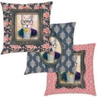 Cat Cushion - Faux Suede Floral