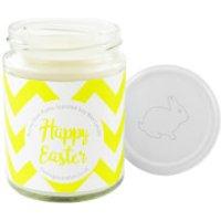 Happy Easter Yellow Chevron Bunny Pom-Pom Candle