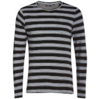 Brave Soul Mens Slate Stripe Long Sleeve Top - Black - M