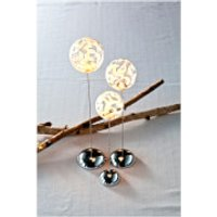 Sirius Drops Trio Glass Baubles with Timer - Clear/White