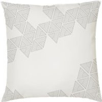 Geometric Triangle Print Cushion - White - Smooth Linen