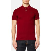 GANT Mens Contrast Collar Pique Short Sleeve Polo Shirt - Mahogany Red - M
