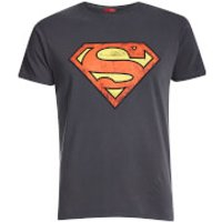 Superman Mens Distressed Logo T-Shirt - Charcoal - S