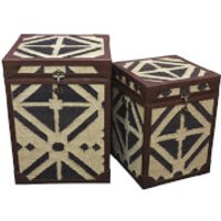 Fifty Five South Aztec Table Trunks (Set of 2) - Black & Natural Print