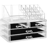 Fifty Five South 16 Compartment Four Drawer Cosmetics Organiser - Clear