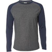 Jack & Jones Mens Originals New Stan Raglan Long Sleeve Top - Dark Grey Marl - L - Grey