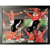 Teddy Sheringham and Ole Gunnar Solksjaer Signed and Framed Boot with Domed Frame Finish