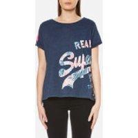 Superdry Womens Vintage Logo Wrap Round Boyfriend T-Shirt - Princeton Blue Marl - S