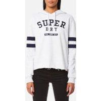 Superdry Womens Riverside Crop Hooded Jumper - Pearl Marl - M - Grey