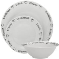 Premier Housewares 12 Piece Charm Dinner Set - Porcelain White