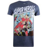DC Comics Mens Justice Square T-Shirt - Heather Navy - S