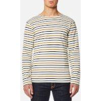 Armor Lux Mens 4 Stripe Long Sleeve Top - Nature/Acacia/Seal - M - Cream