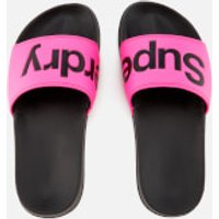 Superdry Womens Pool Slide Sandals - Black/Fluro Pink - M - Pink