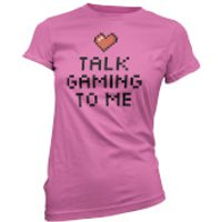 Talk Gaming To Me Pixel Heart Womens Pink T-Shirt - XXL