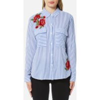 Rails Women's Frances Stripe and Floral Patch Shirt - Banker Stripe with Red Floral Patches - L - Bl