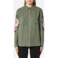 Rails Women's Marcel Floral Patch Shirt - Sage with Pink Floral Patches - M - Green
