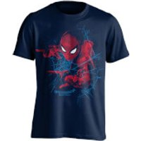 Marvel Spider-Man Mens Web Shooting T-Shirt - Navy - XL