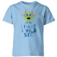 I Have A Wild Side Kids Blue T-Shirt - 9-10 Years - Blue
