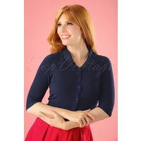 40s April Bow Cardigan in Night Blue