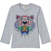 Grey Marl Tiger Print Long Sleeve Tee