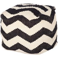 Chevron Pouffes Clearance – Ivory / Black
