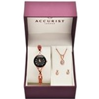 Accurist 8121G.02 Rose Gold Plated Watch, Necklace And Earrings Gift Set - W7224