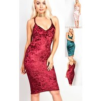 IKRUSH Womens Milla Velour Bodycon Dress
