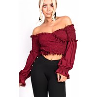 IKRUSH Womens Karmen Bardot Stretch Long Sleeved Frill Crop Top