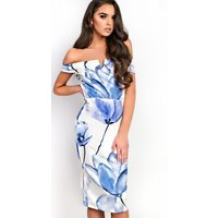 IKRUSH Womens Jayla Bardot Floral Midi Dress