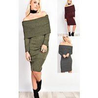 IKRUSH Womens Rowan Off Shoulder Bodycon Dress