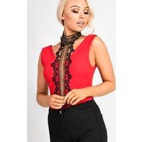 IKRUSH Womens Toya Choker Neck Lace Bodysuit