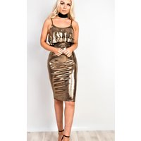 IKRUSH Womens Kiki Bronze Metallic Frill Midi Dress