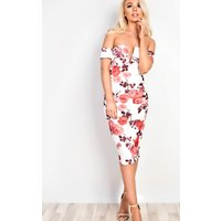 IKRUSH Womens Leelah  Off Shoulder Bodycon Midi  Dress