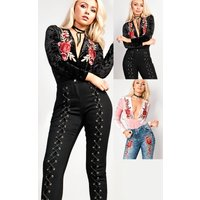 IKRUSH Womens Rosilee Velvet Embroidered Bodysuit