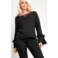 IKRUSH Womens Lemy Flared Sleeve With Embellished Collar Blouse