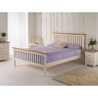 Furniture Express London White Bedstead Oak Trim 3' Single Wooden Bed
