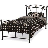 Serene Furnishings Soccer 3' Single Glossy Black Childrens Bed