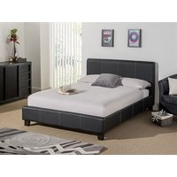 Snuggle Beds Remy Leather (Black) 5' King Size Black Bed Frame Only Leather Bed