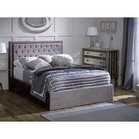 Limelight Rhea Silver Ottoman 5' King Size Fabric Silver Ottoman Bed Ottoman Bed